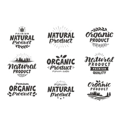 Natural Organic product icons or symbols vector