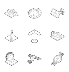 Navigation icons set outline style vector image