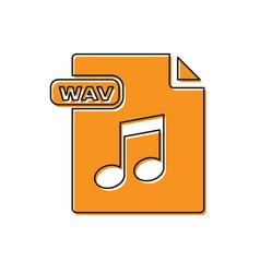 Orange wav file document download wav button icon vector