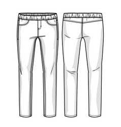 Pants with elastic band vector
