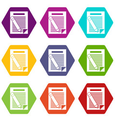 paper and pencil icon set color hexahedron vector image