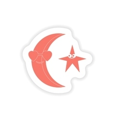 Paper sticker on white background moon star vector