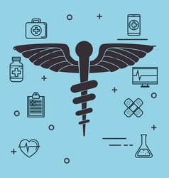 pharmacy symbol with medical healthcare icons vector image