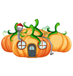 pumpkin house on white background vector image
