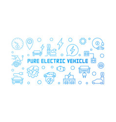 pure electric vehicle blue modern outline vector image