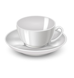 Realistic detailed 3d white tea cup vector