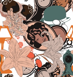 Seamless background in art nouveau style vector