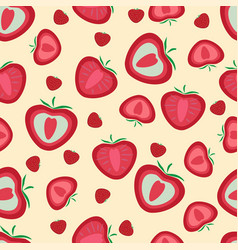 seamless pattern strawberries whole and sliced vector image