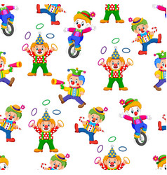 Seamless pattern with clown entertaining people vector