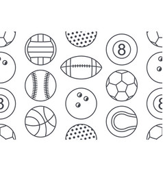 seamless pattern with collection of sports balls vector image