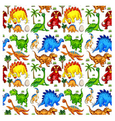 Seamless pattern with various dinosaurs on white vector