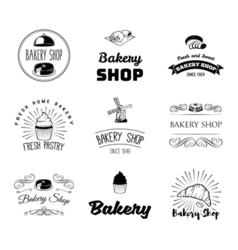 set bakery and bread logos labels badges and vector image