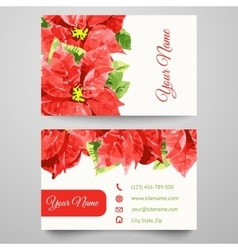 Set business card templates with beauty flowers vector