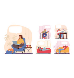 set dreaming characters thoughtful people vector image