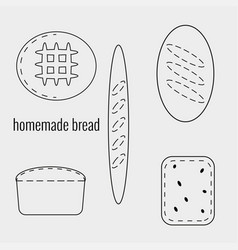 Set homemade bread in outline style vector