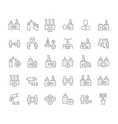Set line icons b2b vector