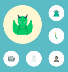 Set of fantasy icons flat style symbols with orc vector
