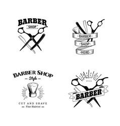 Set of retro barber shop emblems vector