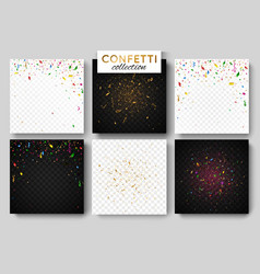 set of six falling colorful confetti background vector image