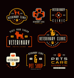 set veterinary clinic labels vector image