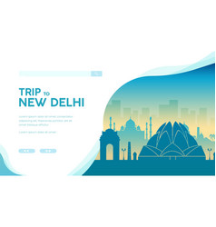 silhouette sightseeing attractions new delhi vector image