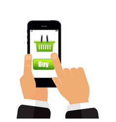 smartphone in the hands of the purchase via phone vector image