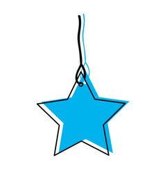 Star pendant of thread in blue watercolor vector