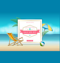 summer sale banner online shopping on beach vector image