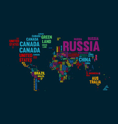 Colorful World Map in Typography Royalty Free Vector Image