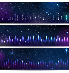 three backgrounds with equalizer vector image