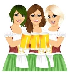 three beautiful waitresses holding beer mugs vector image