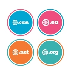 Top-level domains signs Com Eu Net and Org vector