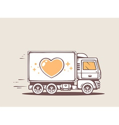 Truck free and fast delivering heart to c vector