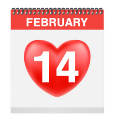 valentines day 14 february on calendar vector image