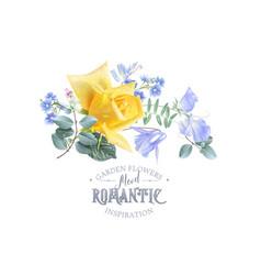 vintage floral banner with garden rose vector image