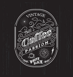 vintage frame border coffee label design badge vector image
