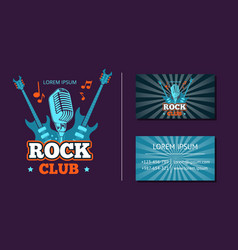 vintage rock music club logo emblem badge vector image