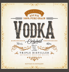 Vintage vodka label for bottle vector