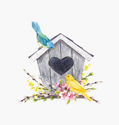 Watercolor birdhouse with birds vector