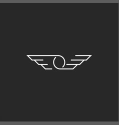 wings symbol o letter logo minimalist style thin vector image