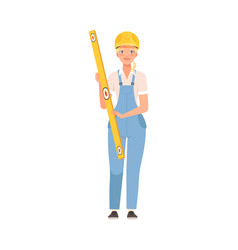 woman builder in blue overalls and a white shirt vector image