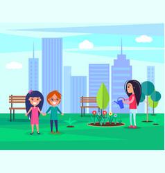 woman watering flowers in park vector image