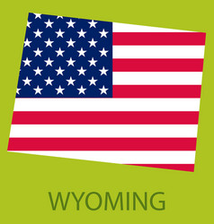 Wyoming state of america with map flag print vector