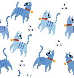 blue cats pattern seamless vector image vector image