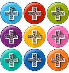 Circle buttons with the addition operation vector image vector image