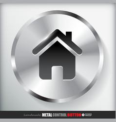 Circle Metal Home Button vector image