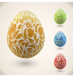 Easter egg with color floral ornament vector image vector image