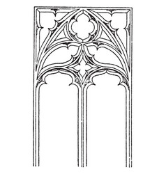 Gothic tracery two main types vintage engraving vector
