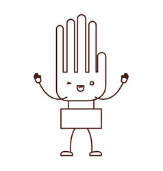hand kawaii caricature with open arms standing in vector image