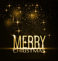 merry christmas typography background with gold vector image vector image